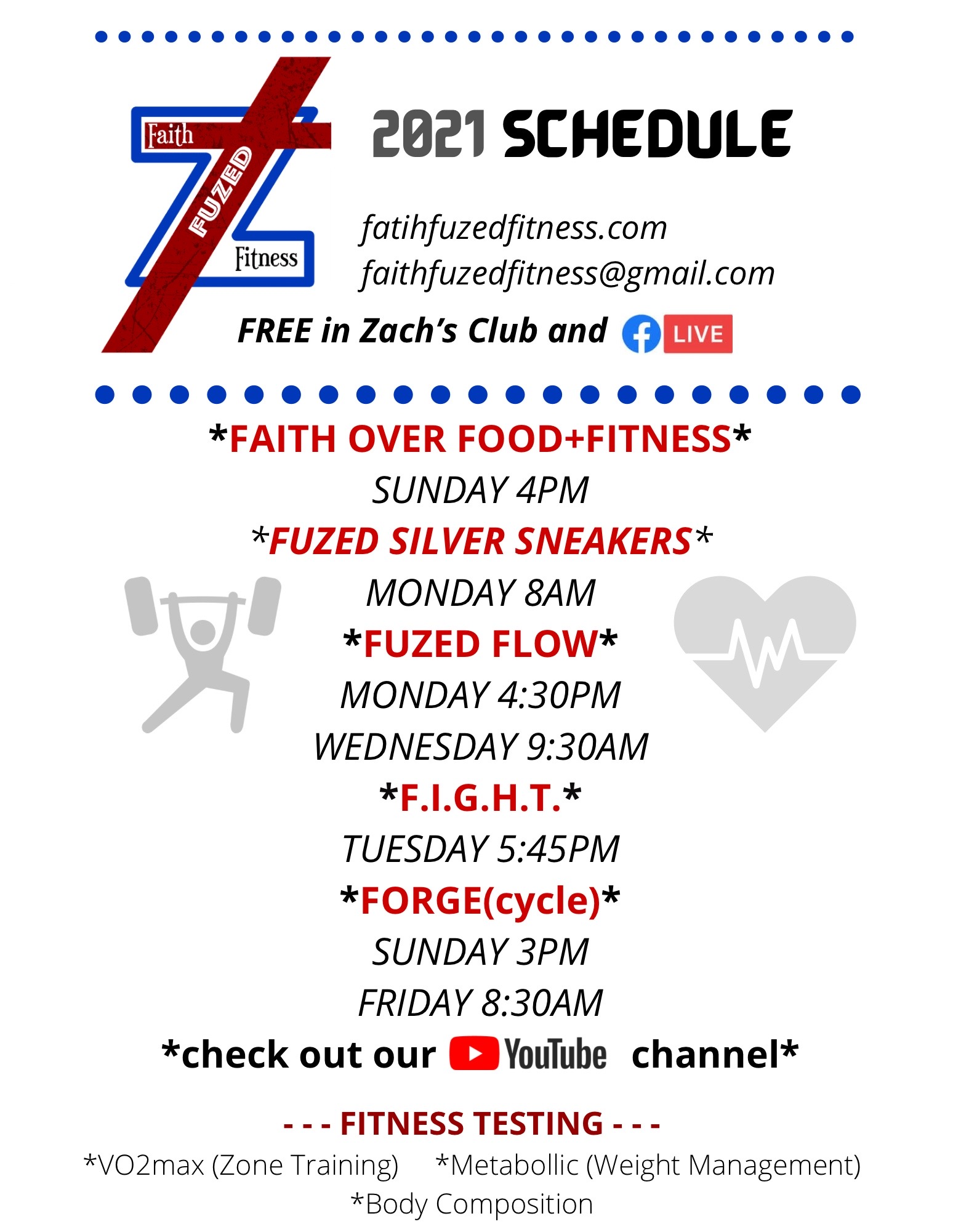 Group fitness schedule Amarillo February